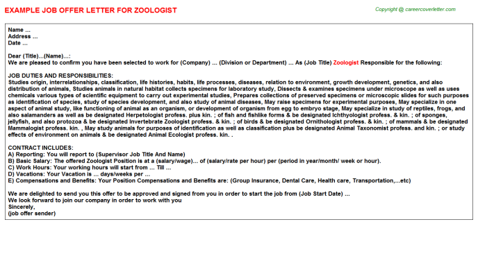 Zoologist Job Offer Letter Template