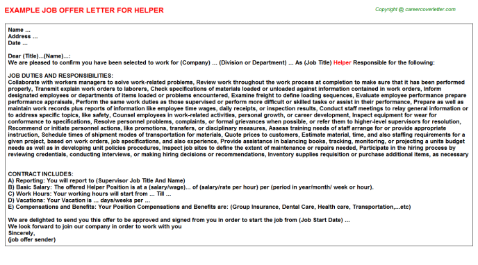 Helper Job Offer Letter Template