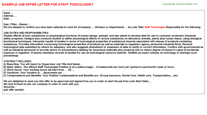 staff toxicologist offer letter template