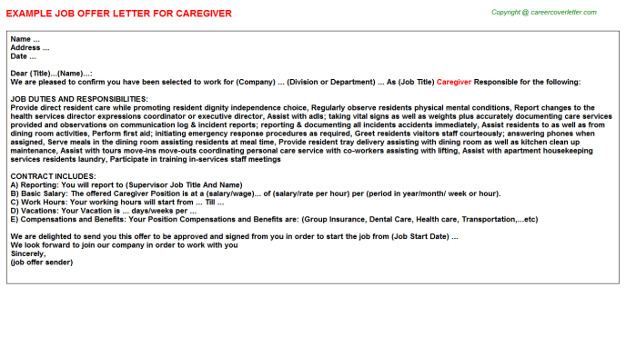 caregiver job offer letter