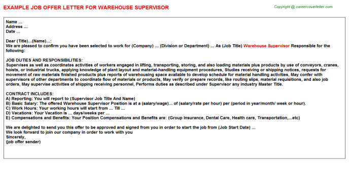 Warehouse Supervisor Offer Letter Template