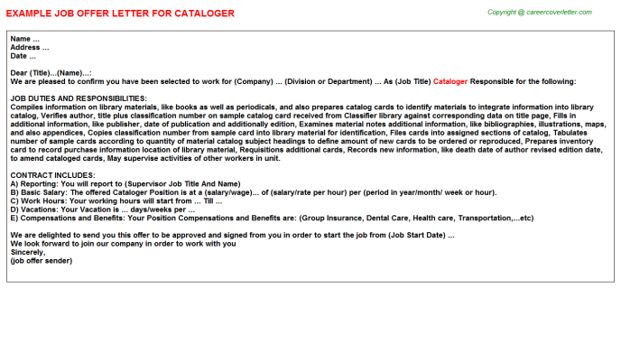 Cataloger Job Offer Letter Template