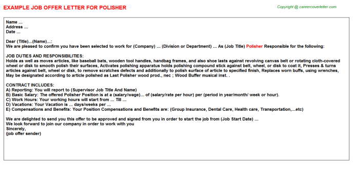 Polisher Job Offer Letter Template