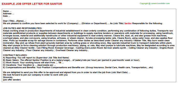 Sanitor Offer Letter Template