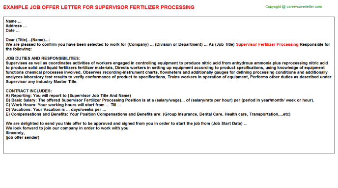 Supervisor Fertilizer Processing Offer Letter Template