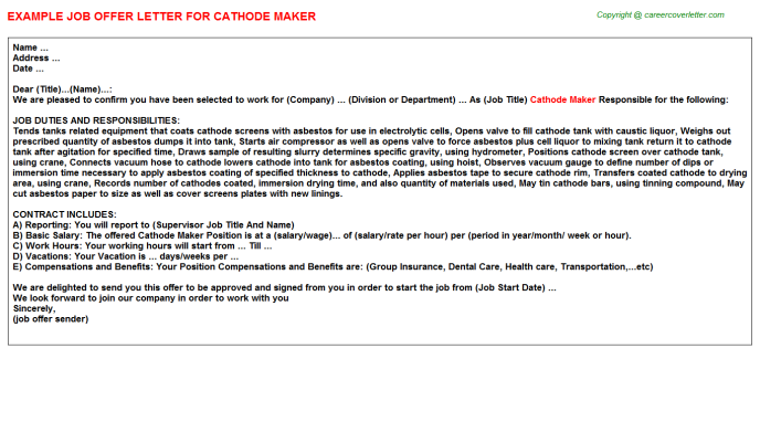 cathode maker offer letter template