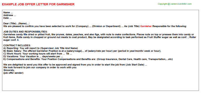 Garnisher Job Offer Letter Template