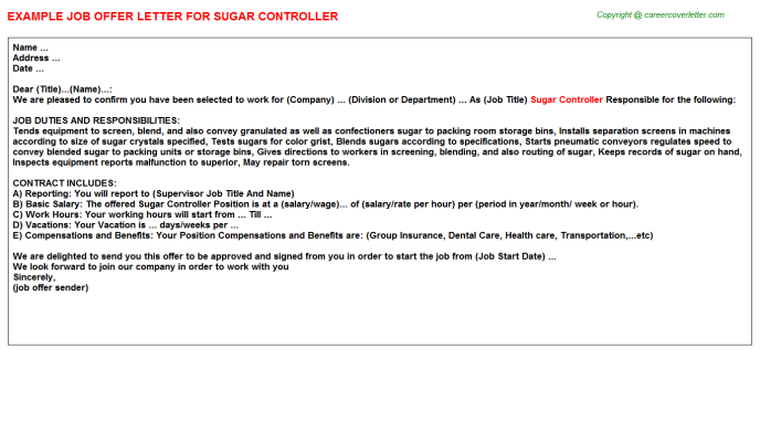 sugar controller offer letter template