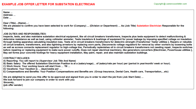 Substation Electrician Offer Letter Template
