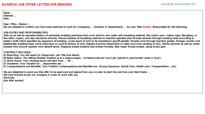 Braider Job Offer Letter Template