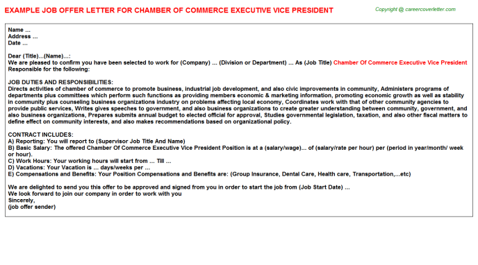 chamber of commerce executive vice president offer letter