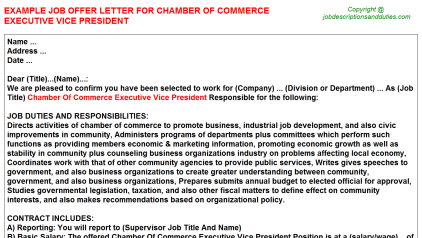 Chamber Of Commerce Executive Vice President Job Offer Letter Template