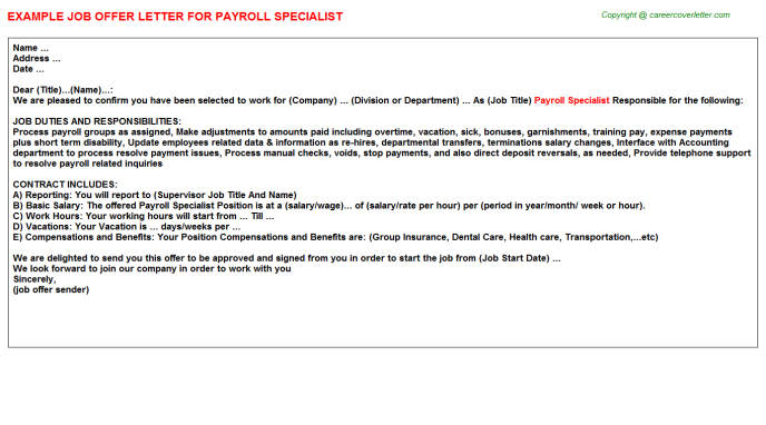 Payroll Specialist Offer Letter Template