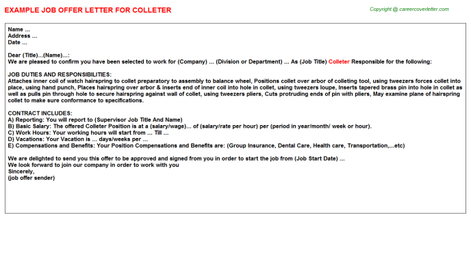 Colleter Offer Letter Template