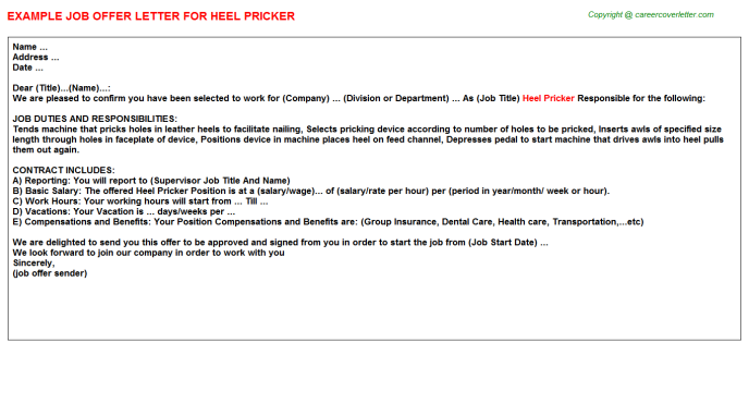 Heel Pricker Offer Letter Template