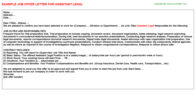 Assistant Legal Offer Letter Template
