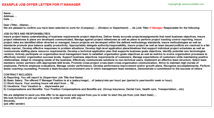 IT Manager Offer Letter Template