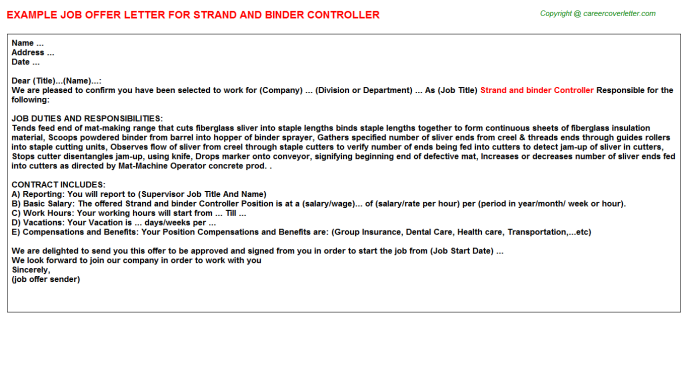 Strand And Binder Controller Offer Letter Template
