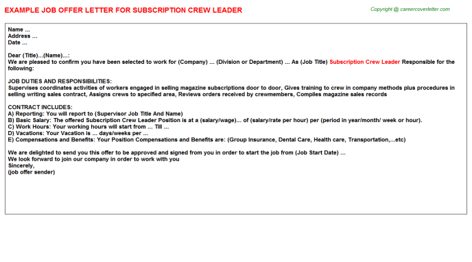 subscription crew leader offer letter template