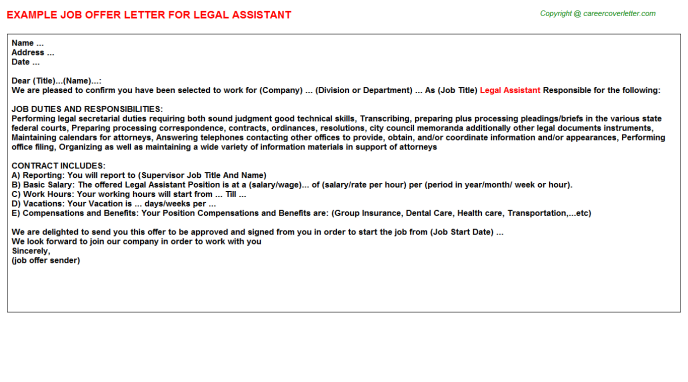 Legal Assistant Offer Letter Template