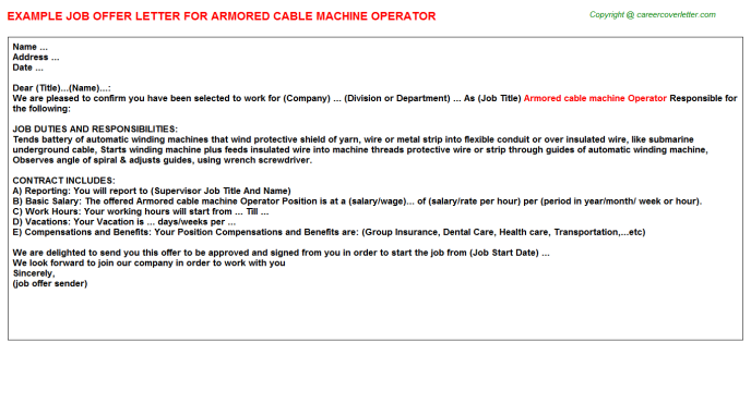 Armored Cable Machine Operator Offer Letter Template