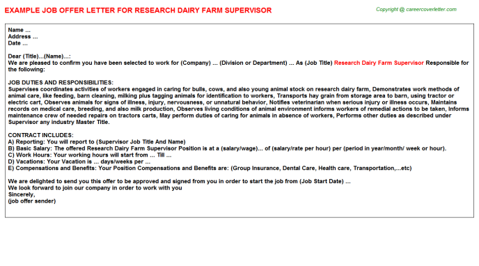 Research Dairy Farm Supervisor Offer Letter Template