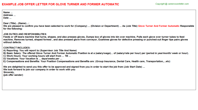Glove Turner And Former Automatic Offer Letter Template