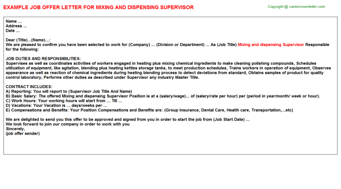 Mixing And Dispensing Supervisor Offer Letter Template