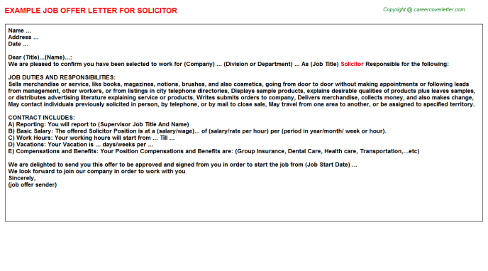 Solicitor Job Offer Letter Template