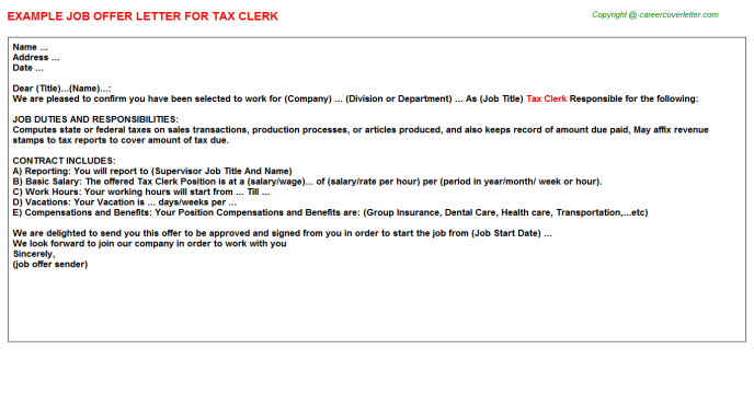 Tax clerk job offer letter (#3738)