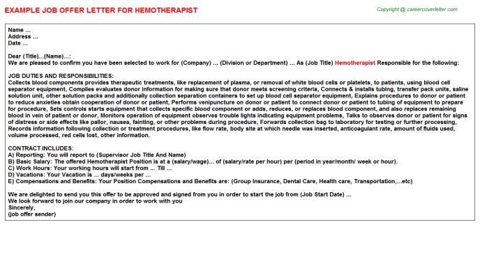 Hemotherapist Job Offer Letter Template