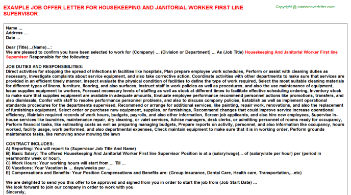 Housekeeping and janitorial worker first line supervisor job offer letter (#24023)