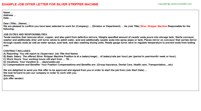 Silver Stripper Machine Offer Letter Template