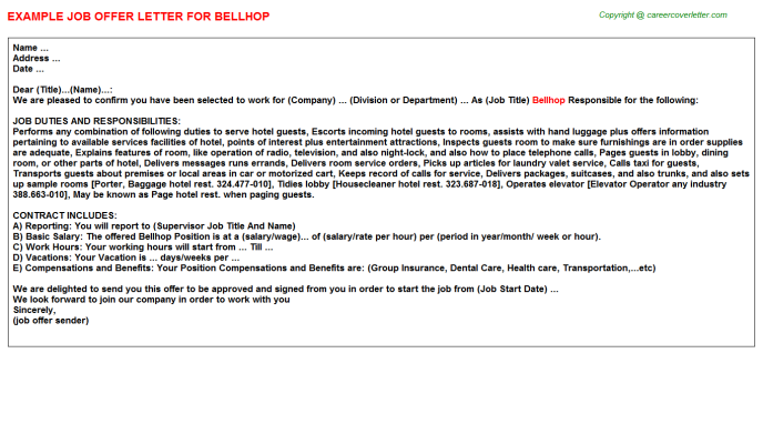 Bellhop Offer Letter Template
