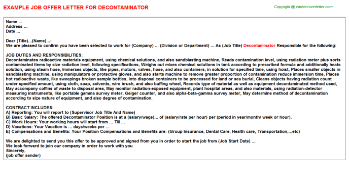 Decontaminator Job Offer Letter Template