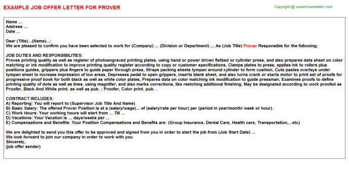 Prover Offer Letter Template
