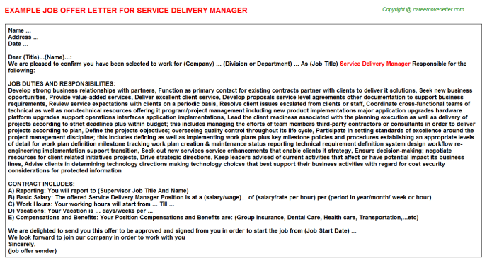 Service Delivery Manager Offer Letter Template