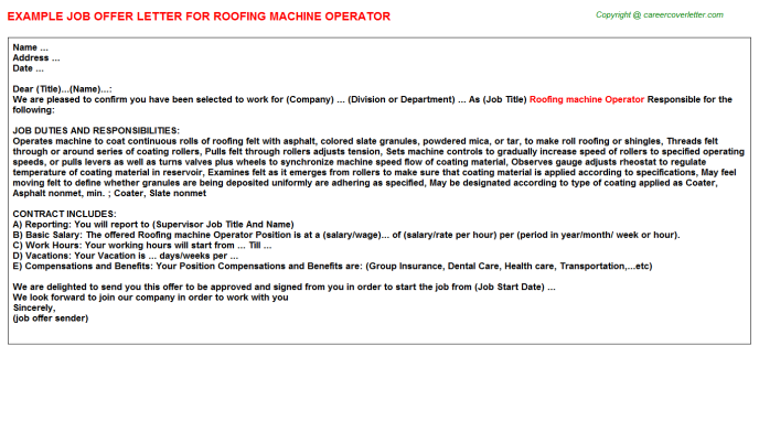 roofing machine operator offer letter template