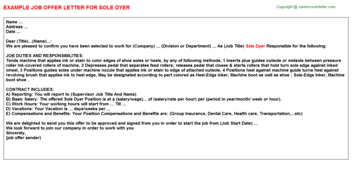 Sole Dyer Offer Letter Template