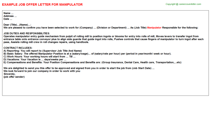 Manipulator Job Offer Letter Template