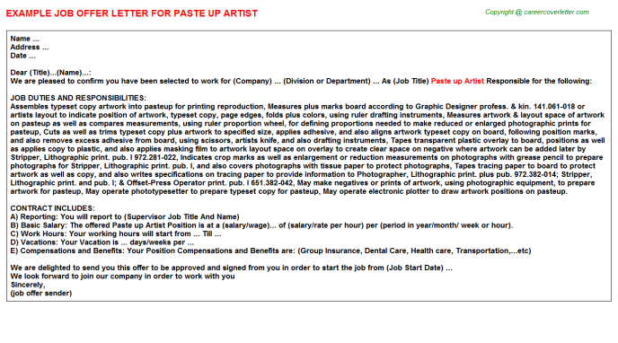 Paste Up Artist Job Offer Letter Template