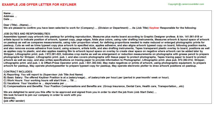 Keyliner Job Offer Letter Template