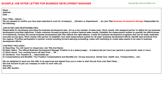 Business Development Manager Offer Letter Template