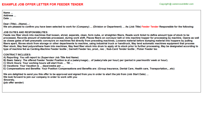 Feeder Tender Offer Letter Template