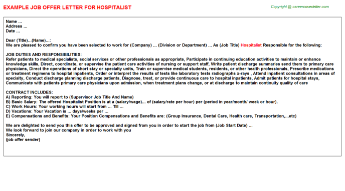 Hospitalist Job Offer Letter Template