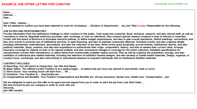 Curator Offer Letter Template