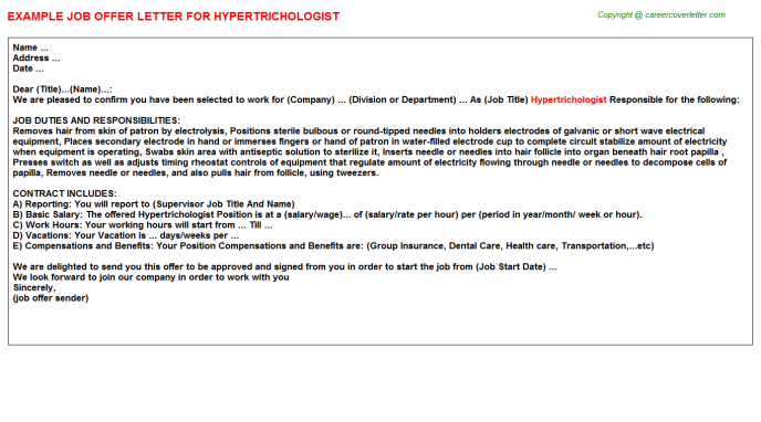 Hypertrichologist Offer Letter Template