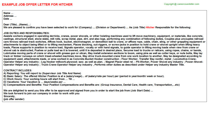 Hitcher Offer Letter Template