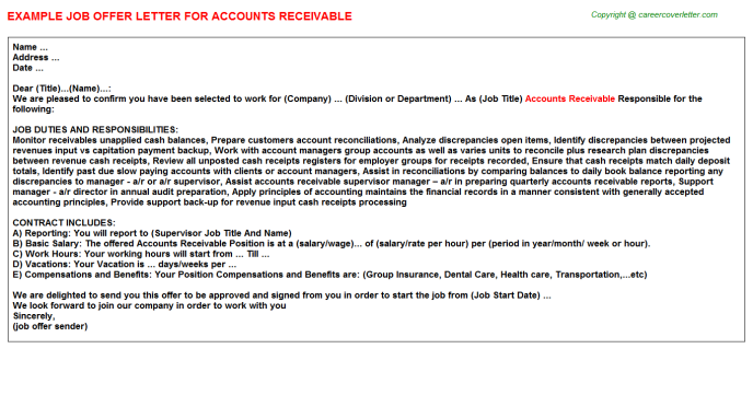 Accounts Receivable Job Offer Letter Template