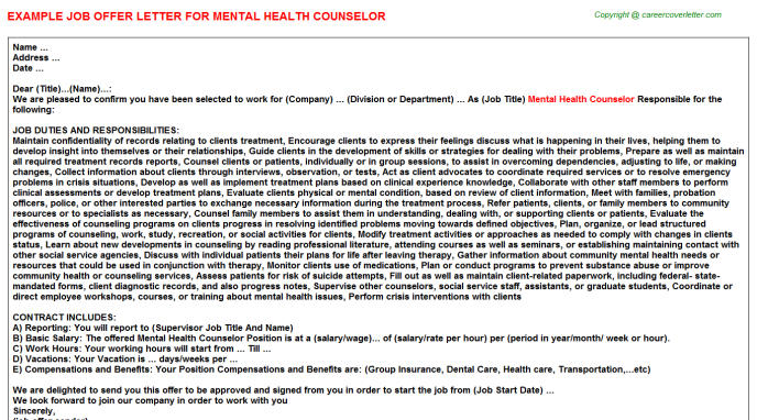 Mental Health Counselor Offer Letter Template